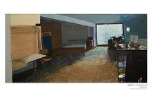 ''Interiors in perspective'' by Dimitra Katsaouni / Paintings on Canvas / Oils + Acrylics / by Dimitra Katsaouni ®