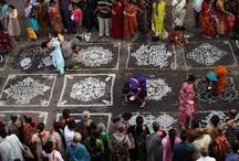 "straat tekenen ""Indian kolam-rangoli"""
