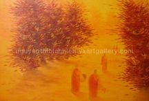 Buddhism Paintings Collection by Vietnamese artists / Paintings by artist Nguyen Thi Bich Hien. Discover her biography and art philosophy at http://nguyenthibichhien.vxartgallery.com