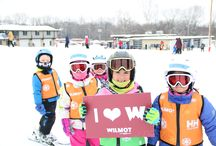 Ski & Snowboard Lessons / Children and adults taking ski and snowboard lessons at Wilmot Mountain.
