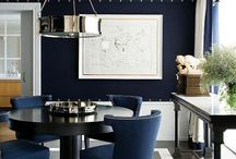 Navy chairs dining room