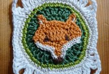 crocheted animal squares