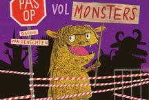 kinderboekenweek 2017: griezelen,motto : gruwelijk eng / thema bord van de kinderboekenweek