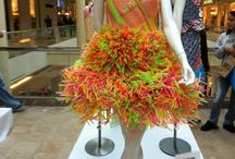 Dress made out of straws