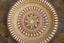 basket weaving with pine needles.