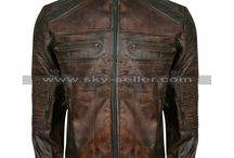 Cafe Racer Men's Vintage Motorcycle Brown Leather Jacket / Get this Men's Vintage Biker Distressed Leather Jacket at most cheap price from Sky-Seller and avail free Shipping.