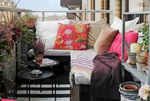Inspiration balcon d'été / Il fait beau....je rêve de bouquiner en terrasses et de boire des petits coktails sympas avec mes copines, le nez au soleil ... Ni une ni deux: commençons par un petit moodboard pour refaire la terrasse !
