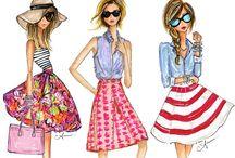 Ilustrações e inspirações para looks