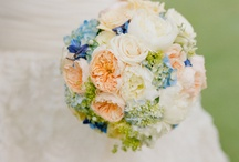 Blue & Peach Wedding Flowers