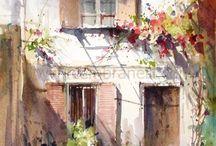 starý dům-akvarel