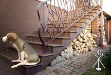 "Balustrade "" Secesyjna"" and sculpture "" Dog"""