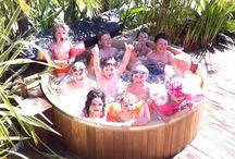 Cedar Hot Tub Fun / Some photos of customers enjoying their cedar hot tub from Canadian Hot Tubs.