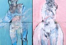 New Flo 2014 / 2 painting on canvas  Adam et Rêve 180x180 poliptyque  and last Flo 146x110