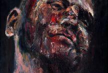 """EXZISTANCES / """"EXZISTANCES"""", 2011, 20 x 40 cm / 35 cm, 7 x 45 cm / 40 cm , oil on canvas"""