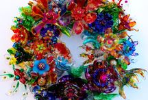 Chihuly inspired water bottle wreath