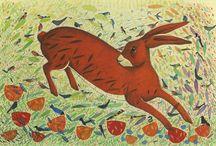 My work: Hares / birds, hares, wildlife,  Michelle Campbell Art. Licensed Art, Licensing, Art for Licensing.