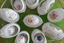 Easter eggs openwork carved natural eggs / Easter eggs openwork carved natural eggs