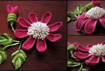 Flowers etc -crocheted, knitted, embroidered