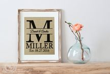 KNOT & NEST Collections - ETSY / Knot & Nest's personalized burlap prints would make the perfect wedding shower gift that the bride can use as wedding decor or use as wall decor in her new home. These wedding prints are also a perfect keepsake to bestow upon a friend or loved one as a wedding gift, engagement gift, shower gift, anniversary gift, birthday gift, housewarming gift, Christmas gift or Valentine's day gift. Each wedding print is professionally printed with natural water-based pigments on real burlap fabric.