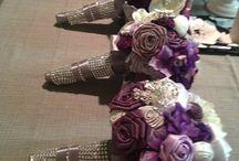 DIY Rose Bouquets for Bridesmaids :  wedding bouquet bridesmaids brooch ceremony diy flowers inspiration purple reception ribbon rose silver...
