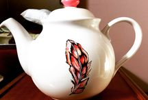 Mad M. Oiselle Teapots / Hand painted, one-of-kind teapots