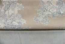 """""""Sevigne"""" tissus toile de Jouy (Mas d'Ouvan) / tissu toile de Jouy : Sevigne (Mas d'Ouvan) トワルドジュイ布:セヴィンニュ (フランス、マドゥヴァン社)"""