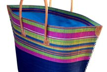 Beach Baskets / Beautiful bright raffia baskets - ideal for the beach and home