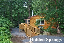 Hidden Springs Pet Friendly Luxury Log Cabin / Hidden Springs is a secluded 3 Bedroom Pet Friendly Luxury Log Rental Cabin.  It features an open floor plan, perfect for wheelchair accessibility! Located at Ole Mink Farm Recreation Resort in Thurmont, Maryland in the Catoctin Mountains.