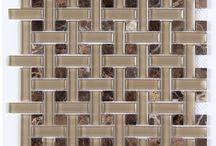 Glass and Stone Blend Glass Basketweave Mosaics AllMarbleTiles / Glass and Stone Blend Glass Basketweave Mosaics from  AllMarbleTiles.com  Dark Emperador, Bianco Carrara Marble, Beige Travertine, beige Marble, Crema Marfil Marble tiles and glass tiles blend mosaics