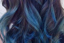 Blå ombre hår