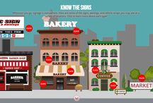 Everything You Need To Know About Signs - Interactive Infographic! / Signage is everywhere. Check out our clickable infographic and learn more about each type! Reference the different types of signs, vehicle wraps, awnings, and more necessary for business. See the entire infographic here: http://bit.ly/1QFyMs1
