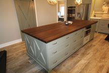 Country Barn Kitchen / Give your kitchen an essence of nature and the warmth of a country barn with rustic accessories and a Made in the USA Walnut Island top. www.mccluretables.com