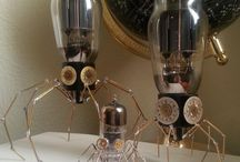My Spiders & Squiders! / Arachnids made of watch parts, vacuum tubes and light bulbs!