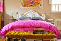 Bedrooms / The Duvet Cover is from Target, dyed pink with iDye. The totally awesome spin art is from www.onedaygallery.com but Daimien Hirst has some ok looking ones too / by Ava Dodd