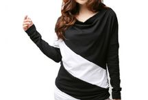 Women Apparels / Women long-sleeved T-shirt - Black & White / by Shop Hunk