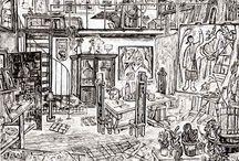 De kunstenaar in het atelier