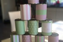 Wedding tin can game / garden games / vintage carnival wedding / dåsespil til bryllup / DIY tin can game for your wedding reception. Vintage carnival wedding. Mint and pink.Very easy to do! Gør-det-selv dåsespil til bryllup, lege til reception