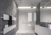 Concrete Bathroom / Hexagonal Shape Concrete Bathroom Industrial Geometric / by Samiha Al Hashimi