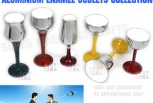 Aluminium Wine Goblets / Recycle aluminium wine goblets. High quality Red,White,Blue & other enamel finishes available !