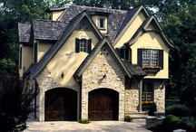 French Style Home Exterior / Popular throughout the 18th century, these homes have French doors and casement windows with exterior shutters. In the truest form of the style, the exterior walls have half-timber framing covered in stucco.