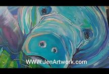 Manatee Paintings by Jen Callahan 2018