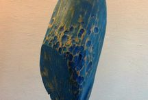 """Wood """"BLUE period"""" and more..., made by Endre Farkas / I like """"BLUE"""" on wood, sculptures made in 2014 and 2015"""