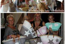 Workshop Strandtassen schilderen / Workshop bij Puur & Mooi wonen, of verf voor om deze tassen te schilderen met How to do voor thuis!