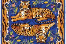 Tyger Tyger / The tiger is a majestic beast that represents everything we have come to expect from the modern, style-conscious individual: a sense of serenity and power, a quiet confidence that comes from absolute certainty of their place in the world, and a visual impact which is second to none. This Robertto's silk pocket square brings together the regal image of the tiger with a delicate, oriental floral background, and is finished by that iconic striped print against a vibrantly colored hand-rolled hem.