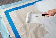 Painted drop cloth rug