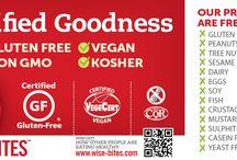 Wise Bites Quinoa Treats / Certified • Gluten-Free • Non-GMO • Vegan • Kosher. Top 11 Allergen-Free Cookies, Bars, Muffins & Loaves. High in Protein & Fibre. Low in Sugar & Fat