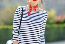 Breton top outfits / Women's fashion