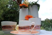 Garance reflets orange / porcelaine de limoges peinte à la main