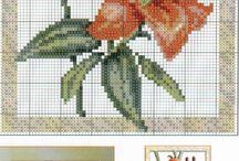 PUNTO DE CRUZ (Flores y Plantas) / El punto de cruz es una de las técnicas más antiguas de bordado, siguiendo estos esquemas puntada a puntada nacerán hermosas flores.