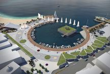 """PROPOSED ARCHITECTURAL STUDY FOR THE SQUARE AND THE HARBOR IN ELOUNDA IN CRETE, GREECE / The village of Elounda is one of the largest and most famous resorts of Crete. The aim of this architectural study is to radically change the current image of the region, so as to provide a comprehensive set of aesthetic regeneration and meet the needs of the powerful """"Brand Name"""" of the area that each visitor has in mind."""